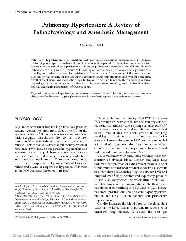 American Journal of Therapeutics 0, 000–000 (2011)  Pulmonary Hypertension: A Review of Pathophysiology and Anesthetic Man...