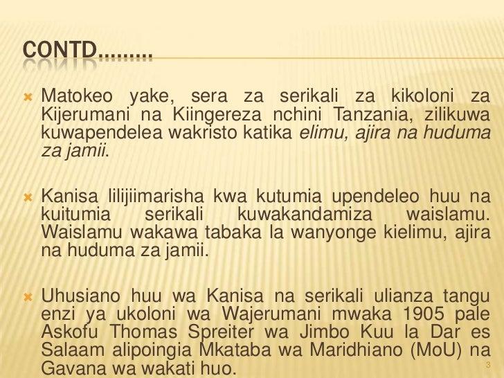 Harakati za kisiasa tanzania na athari zake kwa waislamu wa tanzania Slide 3
