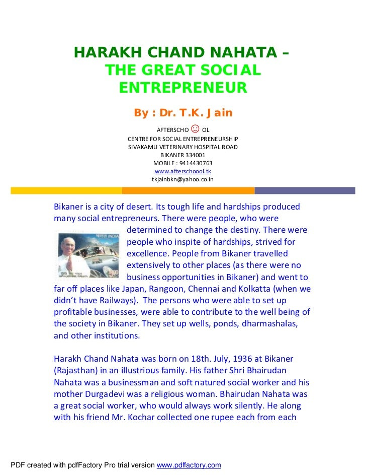 HARAKH CHAND NAHATA –                      THE GREAT SOCIAL                       ENTREPRENEUR                            ...