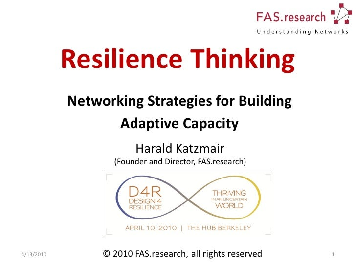 Resilience Thinking             Networking Strategies for Building                    Adaptive Capacity                   ...