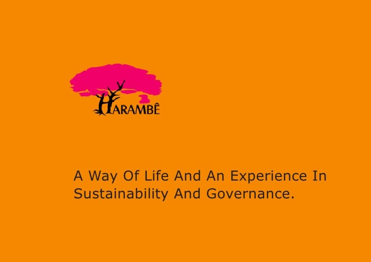 A Way Of Life And An Experience In Sustainability And Governance.
