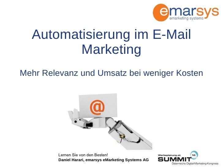 Automatisierung im E-Mail Marketing Mehr Relevanz und Umsatz bei weniger Kosten