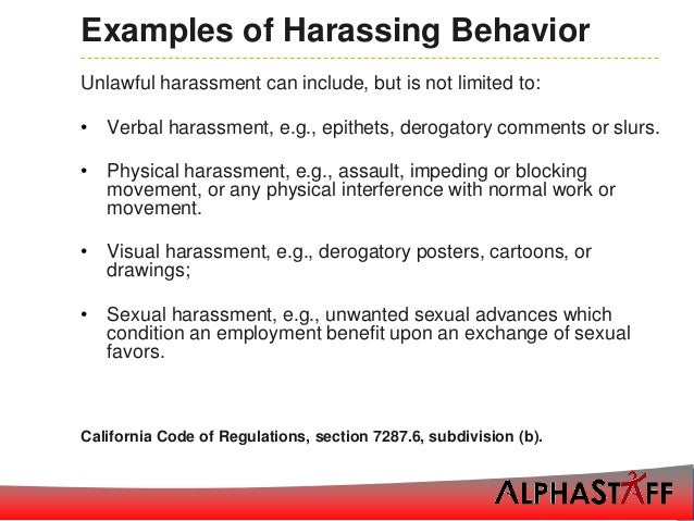 Sexual Harassment At Work Examples