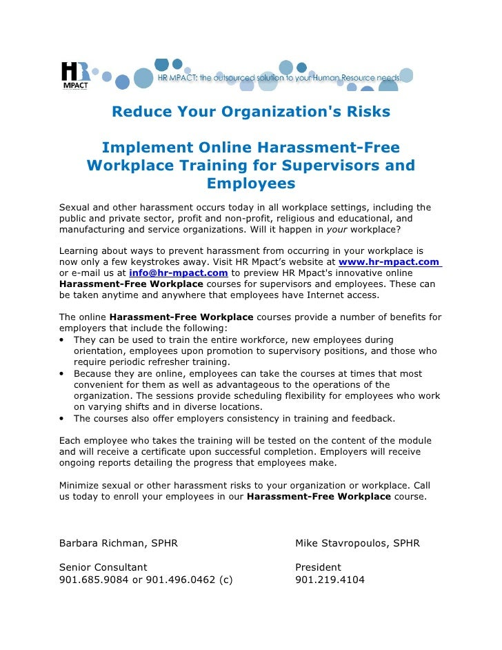 Reduce Your Organizations Risks      Implement Online Harassment-Free     Workplace Training for Supervisors and          ...