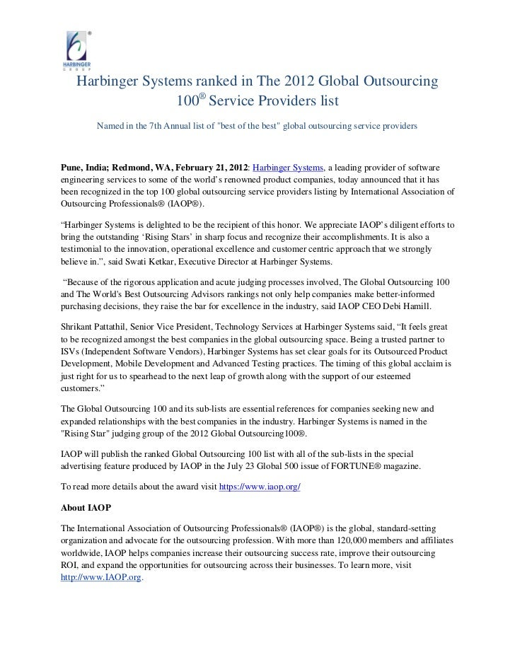 Harbinger Systems ranked in The 2012 Global Outsourcing                   100® Service Providers list         Named in the...