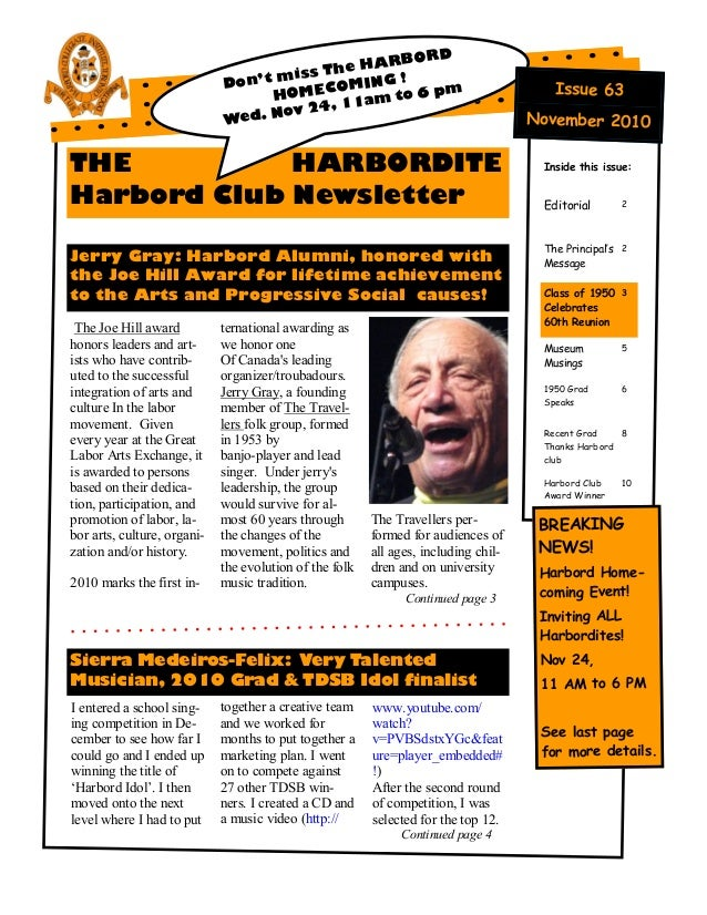 THE HARBORDITE Harbord Club Newsletter Jerry Gray: Harbord Alumni, honored with the Joe Hill Award for lifetime achievemen...