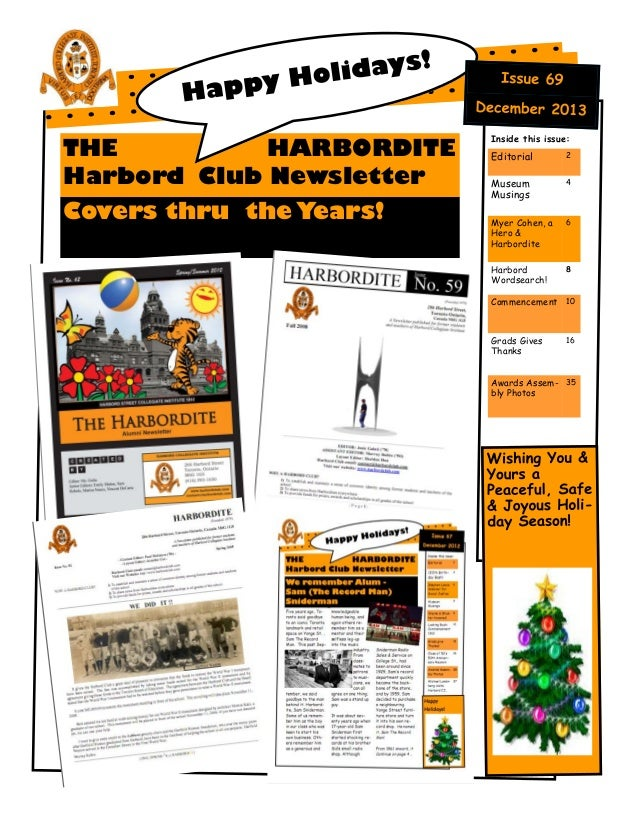 THE HARBORDITE Harbord Club Newsletter Covers thru the Years!  Inside this issue:  Editorial  2  Museum Musings  4  Myer C...