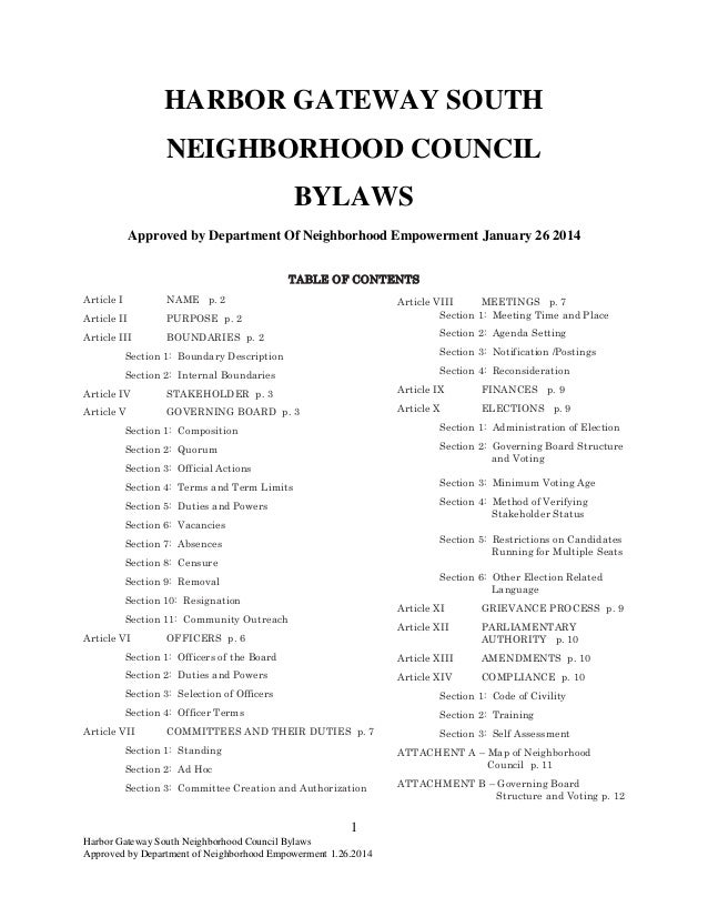 Harbor Gateway South Neighborhood Council Bylaws Approved by Department of Neighborhood Empowerment 1.26.2014 1 HARBOR GAT...