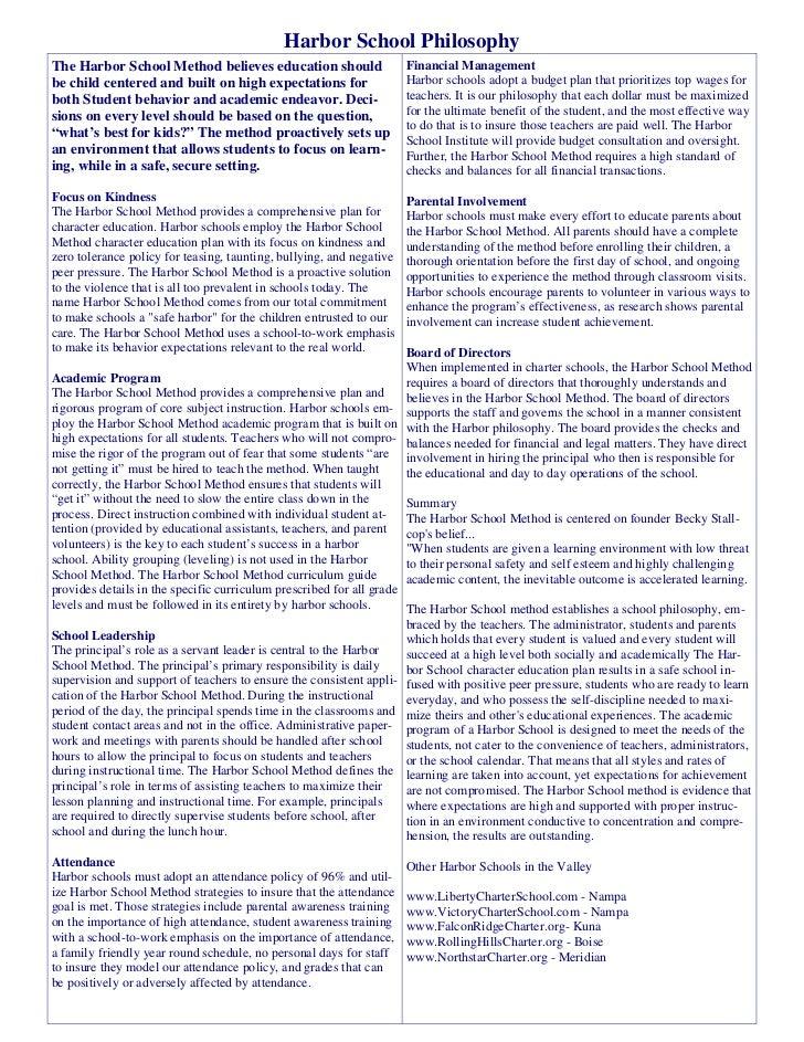 Harbor School PhilosophyThe Harbor School Method believes education should                    Financial Managementbe child...