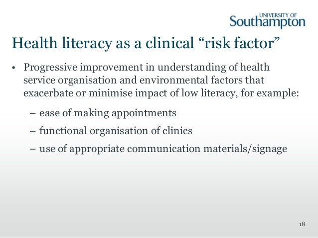 the effects of health literacy Health impacts of education a review  poor literacy and numeracy  concluded that there is reasonably strong evidence of large effects of education on health5 8.