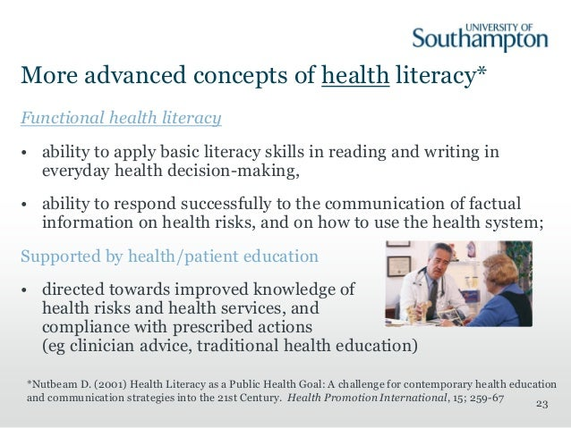 concept analysis of health literacy Read health literacy: a concept/dimensional analysis, nursing & health sciences on deepdyve, the largest online rental service for scholarly research with thousands of academic publications available at your fingertips.