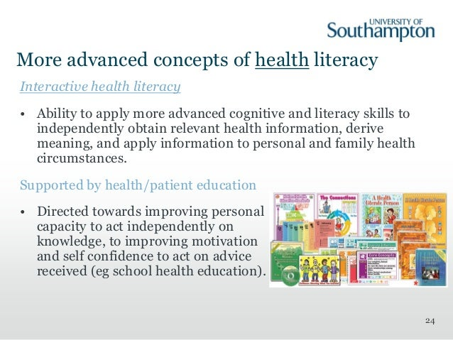 concept analysis of health literacy • a basic overview of key health literacy concepts • techniques for improving health literacy through communication,  quick guide to health literacy p 11.