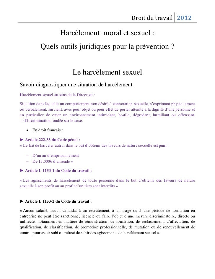 Droit du travail 2012                        Harcèlement moral et sexuel :            Quels outils juridiques pour la prév...