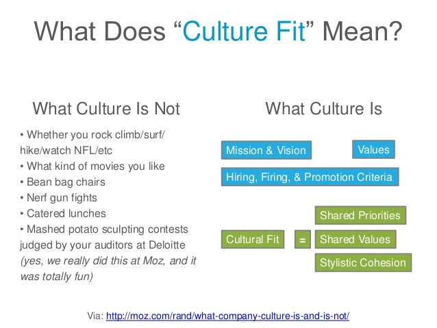 """Via: http://moz.com/rand/what-company-culture-is-and-is-not/ What Does """"Culture Fit"""" Mean? What Culture Is Not • Whether y..."""