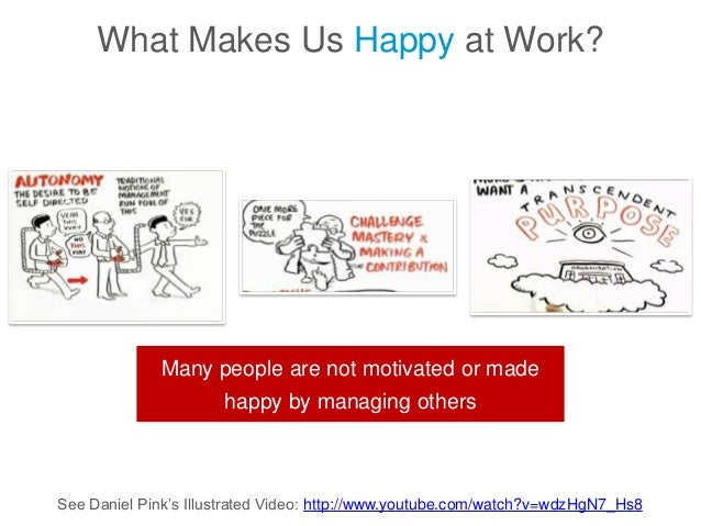 See Daniel Pink's Illustrated Video: http://www.youtube.com/watch?v=wdzHgN7_Hs8 What Makes Us Happy at Work? Many people a...