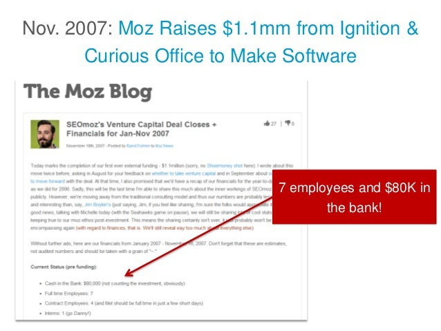 Nov. 2007: Moz Raises $1.1mm from Ignition & Curious Office to Make Software 7 employees and $80K in the bank!