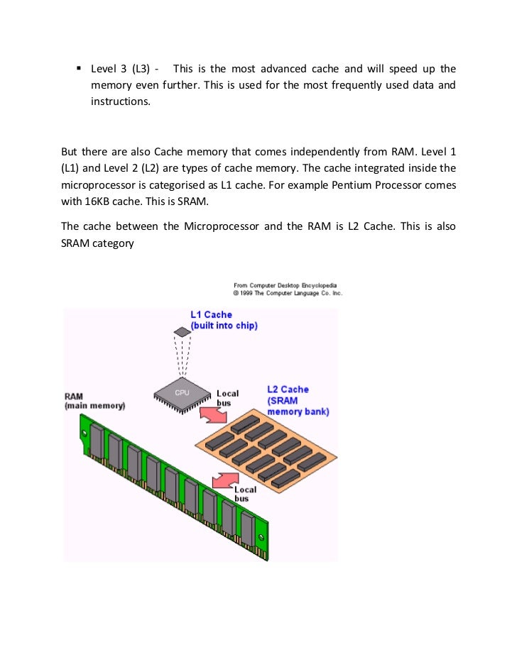  Level 3 (L3) - This is the most advanced cache and will speed up the     memory even further. This is used for the most ...