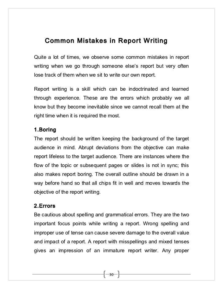 proper report writing