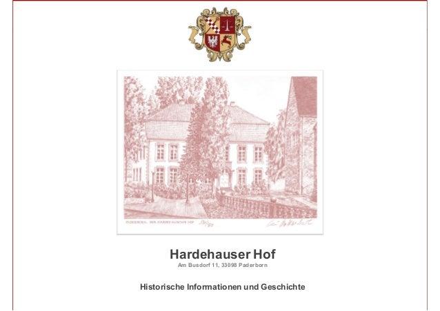 1 Hardehauser Hof Am Busdorf 11, 33098 Paderborn Historische Informationen und Geschichte