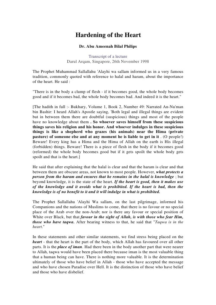 Hardening of the Heart                            Dr. Abu Ameenah Bilal Philips                                 Transcript...