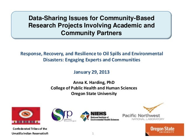 Data-Sharing Issues for Community-Based Research Projects Involving Academic and Community Partners Response, Recovery, an...