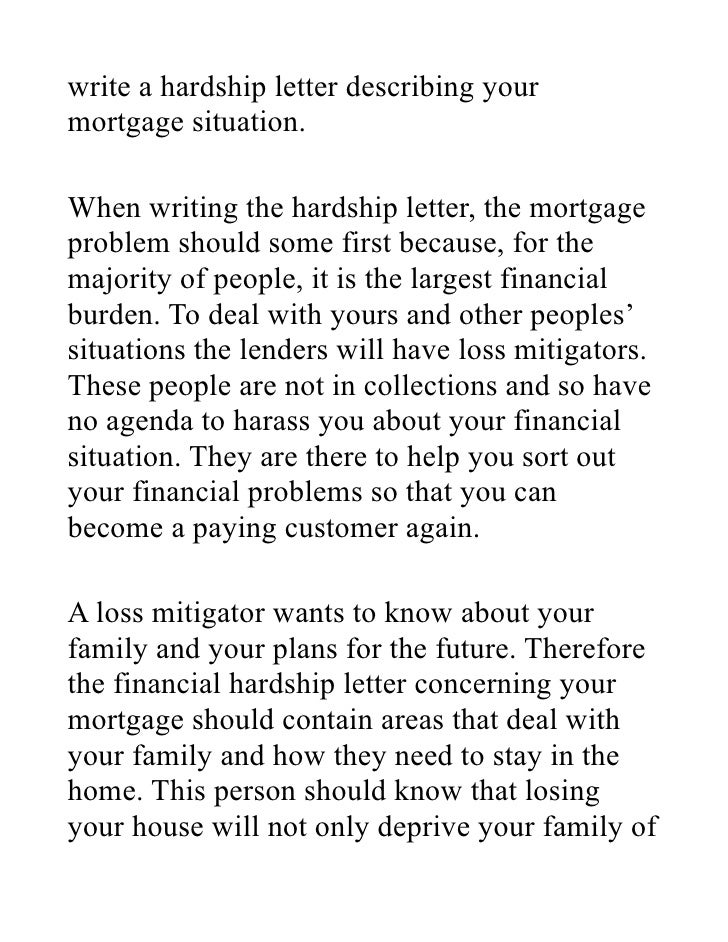 Hardship letter for mortgage reduction – Financial Hardship Letters