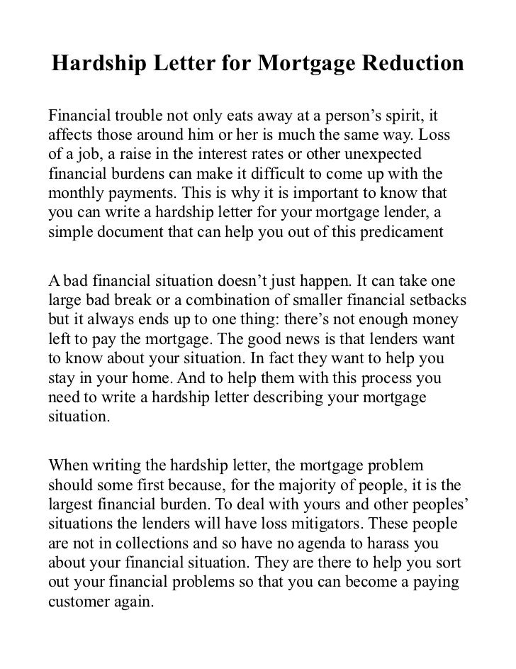 Hardship Letter For Mortgage Reduction