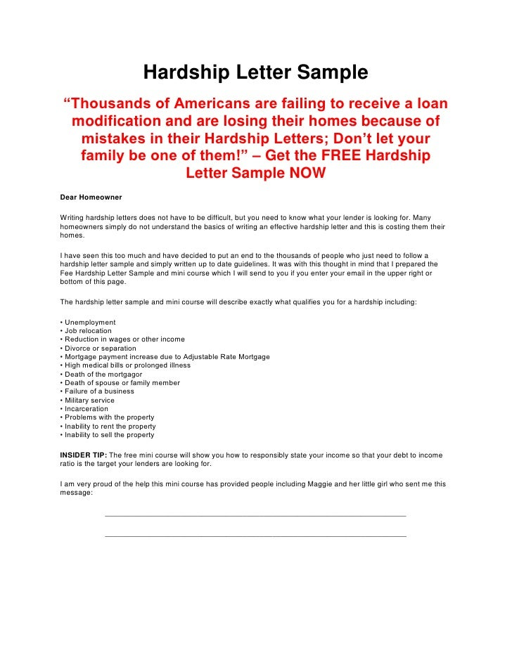 sample hardship letters for loan modifications
