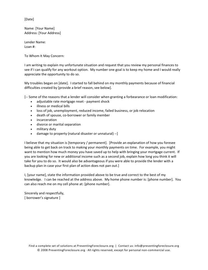 Hardship Letter To Lender Sample