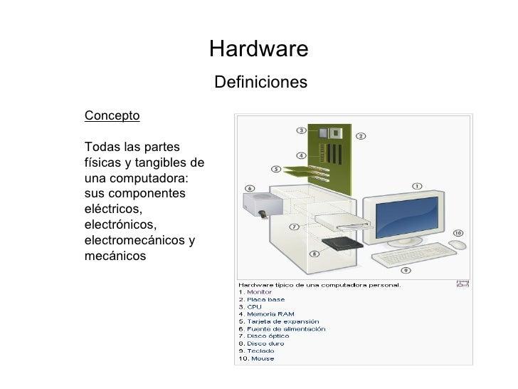 Hardware Definiciones Concepto Todas las partes físicas y tangibles de una computadora: sus componentes eléctricos, electr...