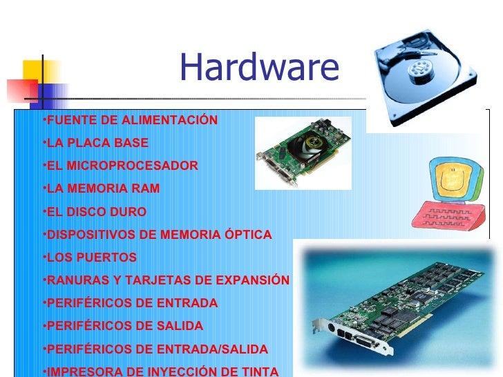 Hardware <ul><li>FUENTE DE ALIMENTACIÓN </li></ul><ul><li>LA PLACA BASE </li></ul><ul><li>EL MICROPROCESADOR </li></ul><ul...