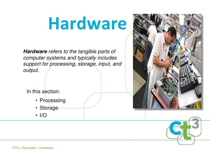 Hardware refers to the tangible parts of computer systems and typically includes support for processing, storage, input, a...