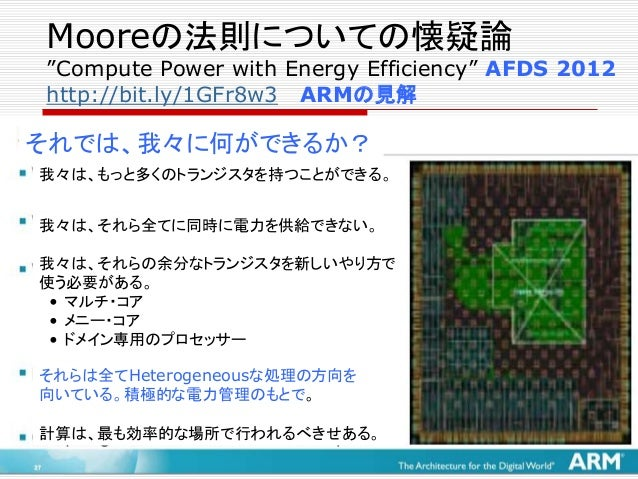 """Mooreの法則についての悲観論 """"Transitioning from the Era of Multicore to the Era of Specialization"""" SICS 2014 http://bit.ly/1BOIEuC Mo..."""