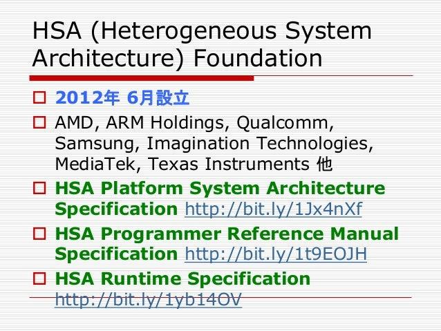 Heterogeneous System Architecture: Features  共有ページテーブルのサポート  ページの切り替え  ユーザー・レベルのコマンドのキューイング  ハードウェア・スケジューリング  コヒーレントな...