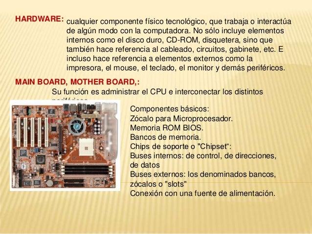 HARDWARE: cualquier componente físico tecnológico, que trabaja o interactúa          de algún modo con la computadora. No ...
