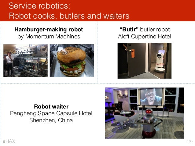 """Service robotics: Robot cooks, butlers and waiters 105 Robot waiter Pengheng Space Capsule Hotel Shenzhen, China """"Butlr"""" b..."""