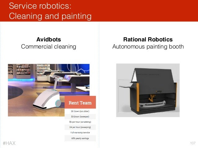 Service robotics: Cleaning and painting 107 Avidbots Commercial cleaning Rational Robotics Autonomous painting booth #HAX
