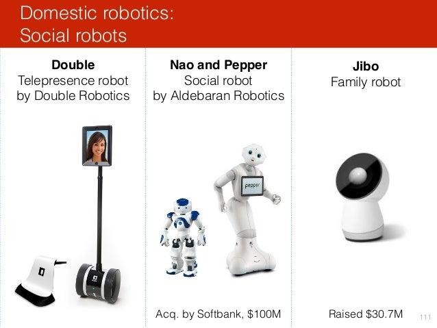 Domestic robotics: Social robots 111 Nao and Pepper Social robot by Aldebaran Robotics Jibo Family robot Raised $30.7MAcq....