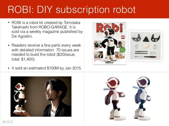 • ROBI is a robot kit created by Tomotaka Takahashi from ROBO-GARAGE. It is sold via a weekly magazine published by De Ago...