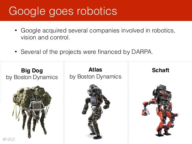 116 • Google acquired several companies involved in robotics, vision and control. • Several of the projects were financed b...