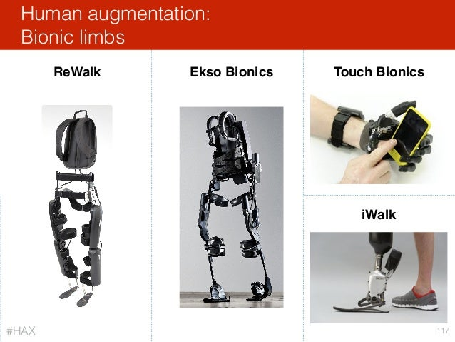 Human augmentation: Bionic limbs 117 ReWalk Ekso Bionics iWalk Touch Bionics #HAX