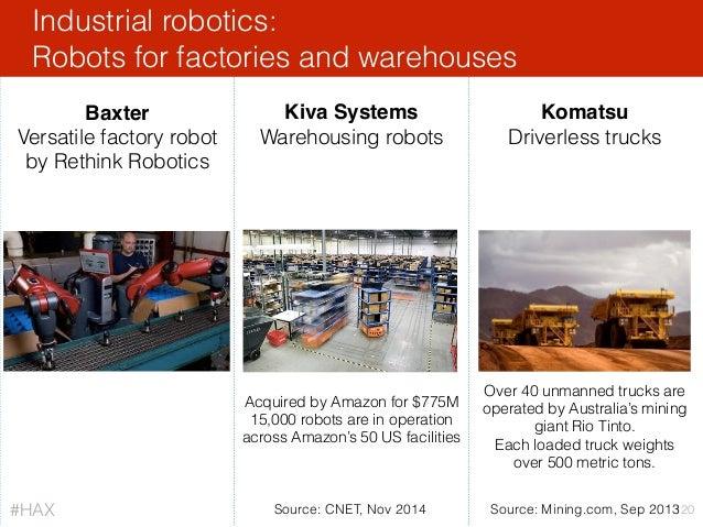 Industrial robotics: Robots for factories and warehouses 120 Baxter Versatile factory robot by Rethink Robotics Kiva Syste...