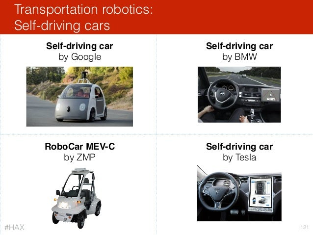 Transportation robotics: Self-driving cars 121 RoboCar MEV-C by ZMP Self-driving car by Google Self-driving car by BMW Sel...