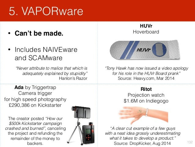 • Can't be made. • Includes NAIVEware and SCAMware 5. VAPORware 132 HUVr Hoverboard Ritot Projection watch $1.6M on In...