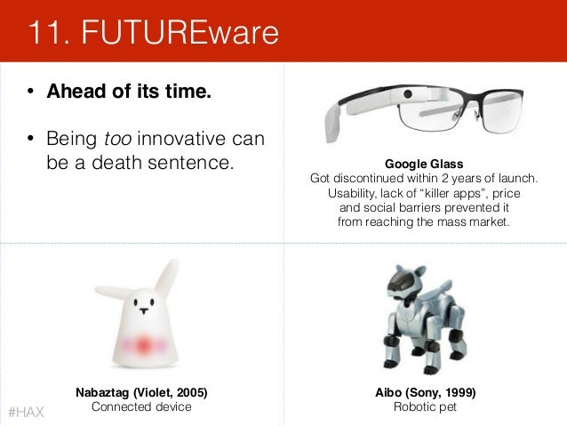 138 • Ahead of its time. • Being too innovative can be a death sentence. 11. FUTUREware Google Glass Got discontinued wit...