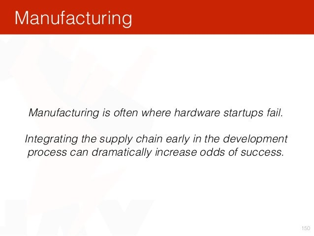 150 Manufacturing is often where hardware startups fail. Integrating the supply chain early in the development process can...