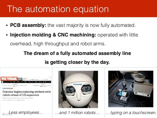 • PCB assembly: the vast majority is now fully automated. • Injection molding & CNC machining: operated with little overhe...