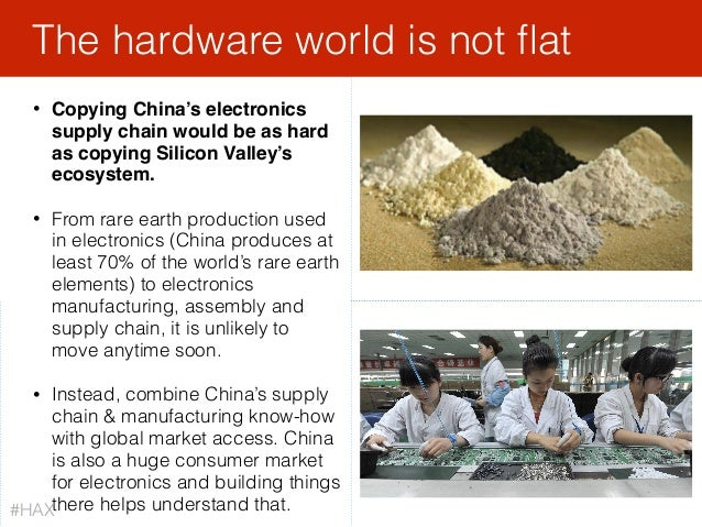 • Copying China's electronics supply chain would be as hard as copying Silicon Valley's ecosystem. • From rare earth produ...