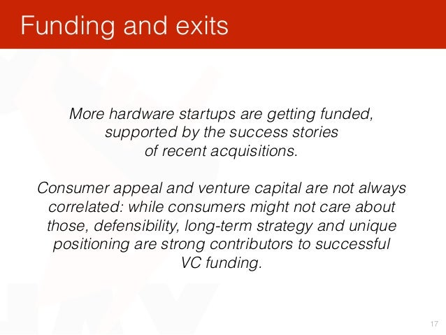 17 More hardware startups are getting funded, supported by the success stories of recent acquisitions. Consumer appeal an...