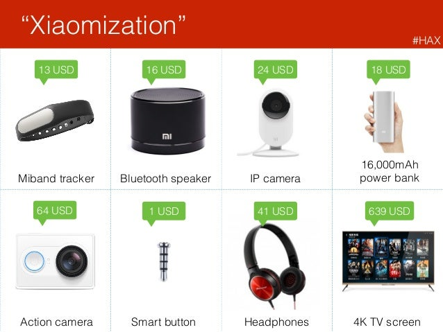 """Xiaomization"" 24 USD16 USD13 USD 64 USD 18 USD 16,000mAh power bank 1 USD Smart button Miband tracker Bluetooth speaker ..."